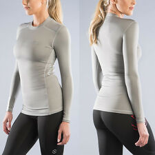 Virus Women's STAY WARM Long Sleeve Compression Crew (ESiO2) GREY Size SMALL