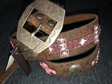 $550 Polo Ralph Lauren rrl Luxury Western  Studded Vintage Leather Belt 31 32 M