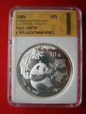 China 2006, WWF Panda 10 Yuan Silber, UNC, MS70 (p007)