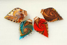 Wholesale Lots 12Pcs Gold Sand Leaf Murano Glass Pendant Fit Necklace FREE