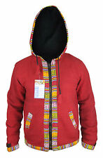 Hippy Festival Baja Cotton Boho Fleece Lined Zip Winter Ethnic Hoodie Jacket