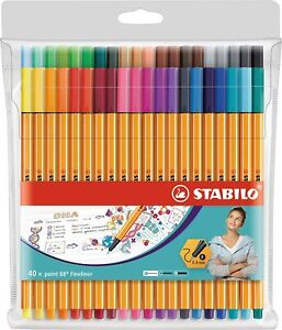 Stabilo Point 88 Fineliner Pens Assorted Colours Technical Drawing - Pack 40