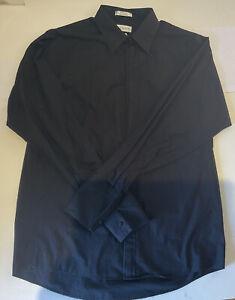 Van Heusen Black Dress Shirt Size 16 - 16 1/2Long Sleeve Button Front 34/35 Lg.