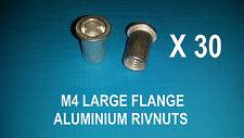 30 X ALUMINIUM RIVNUTS M4 NUTSERT RIVET NUT LARGE FLANGE NUTSERTS RIVNUT RIV NUT