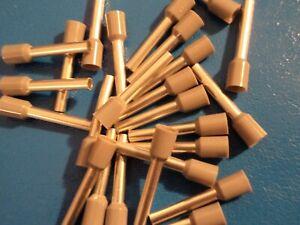 GREY 4.0mm x 18mm extra long pin FERRULE CRIMP (BOOTLACE CRIMPS) QTY = 50