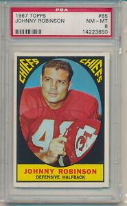 1967 Topps Football Johnny Robinson (HOF) (#65) PSA8 PSA