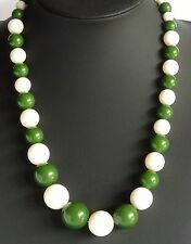 SALE! Vintage Necklace Single Strand Olive Green & White Round Graded Beads 104