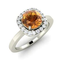 Certified 1.22 Cts Round Cut Citrine & SI Diamond 14k White Gold Engagement Ring