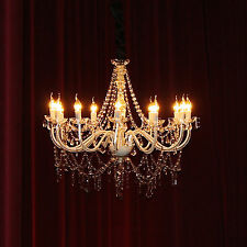 Large Crystal Chandelier 12 Arm Light French Provincial White Ivory Glass Post