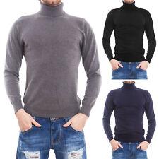 Maglione uomo pullover collo alto dolcevita aderente slim fit nuovo QYB-256