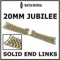 HIGH QUALITY 20MM JUBILEE BRACELET WITH SOLID END LINKS 316L YELLOW GOLD PLATED