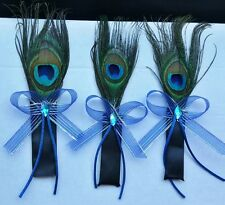 Peacock Feather Wedding Boutonniere for Groom Groomsmen Corsage Prom Quinceañera