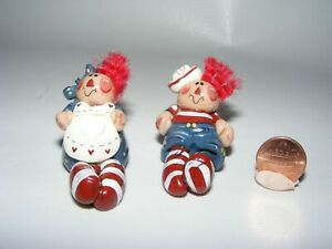 Artisan Dollhouse Miniature doll RAGGEDY ANN and ANDY polymer clay Noril