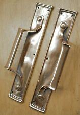 "Pair Of Antique Pull Door Handles Solid Rose Brass Vintage Restored 12 1/2"""