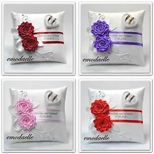 Personalized wedding ring cushion pillow with rings holder box , 30 color,