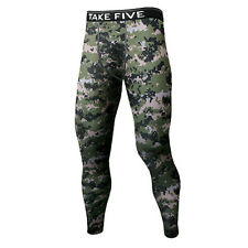 Take Five Mens Camo Skin Tight Compression Layer Running Pants Leggings NP542