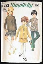 Simplicity Pattern 7923 Girls Skirt Nehru Jacket Bell-Bottom Pants Sz 8 Vtg 1968