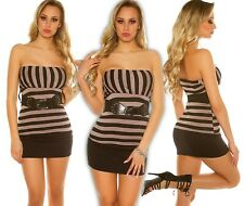 Sexy Bandeau Top Striped with Belt Push up Summer Top Blouse Shirt Longtop Cap