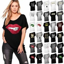 Ladies Lips Batwing Oversized Lagenlook Womens High Low Baggy Tee T Shirt Top
