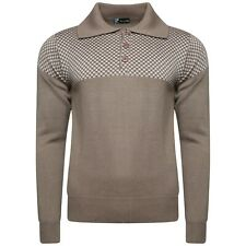 Mens  Patterned Knitted Jumper Collared  3 Button Closure Long Sleeves