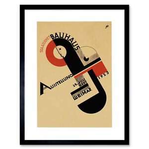 """Exhibition Bauhaus Weimar Icon Germany Retro Ad Framed Art Print Picture 12x16"""""""