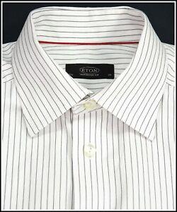 ETON Ganghester Men's White Dress Shirt with Fine Black Stripes size 15½ (39)