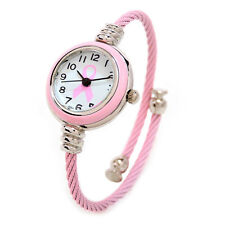 Pink Ribbon Breast Cancer Geneva Ladies Petite Bangle Cuff Watch