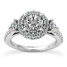 1 Carat D SI Enhanced Diamond Engagement Ring Round Cut 14K White Gold