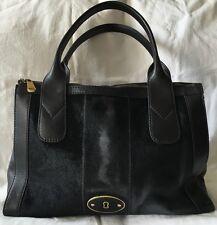 FOSSIL VRI Black Leather Top Zip Calf Hair Leather Satchel Bag Purse-NICE