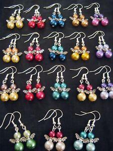 10 Pairs of MULTI Colour Pearl Bead BABY ANGEL Earrings  Fashion Jewellery BULK