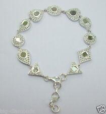 Polki RoseCut Diamond Set In Geometric Fancy Shape Bracelet 925 Sterling Silver