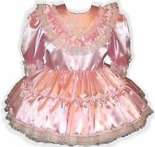 """Darla"" CUSTOM Fit Pink Satin Ruffles Adult Little Girl Sissy Baby Dress LEANNE"