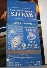Rare Vintage Matchbook Cover B7 Concord California Wolffs Jewelers Watches Rings