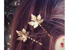 Unique Gold Fashion Pretty Bride Wedding Leaf Hair Accessories Slide Clip 02