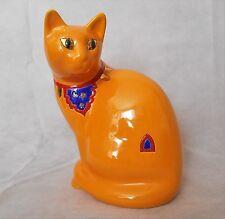 Faïenceries de Longwy Orange Cat Figurines En émaux ou en faïences