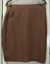 """HIRSCH Vintage Linen Pencil Skirt 30"""" Waist M-L Lined Short Skirt Mocha Brown"""