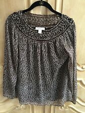 Coldwater Creek Serendipity Top Brown and Cream Print Size Small Was $89.95 NWT