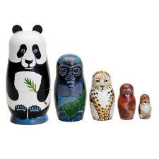5Pcs/Set Animal Panda Tiger Wooden Russian Nesting Dolls Handmade Matryoshka Toy