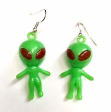 Alien EARRINGS 90's Fancy Dress Rave Neon 4cm Kitsch Charm UFO Roswell Space
