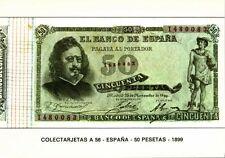 spain, Cincuenta 50 Pesetas 1899, BANKNOTES Modern Money Postcard