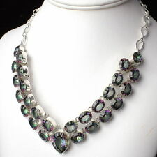 """Large .925 Silver MYSTIC TOPAZ Gemstone NECKLACE 18 1/2"""" ~ Up to 464 carats!!"""