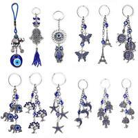 BG_ Evil Eye Hamsa Hand Rhinestone Pendant Keyring Bag Hanging Decor Key Chain A