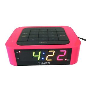 Timed Hot Pink SimpleSet Alarm Clock T123P Rainbow LED Display Fully Tested