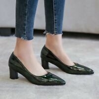Ladies Pumps Block Low Heels Patent Leather Pointy Toe Casual Office Women Shoes