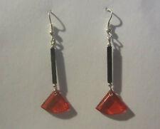 ART DECO STYLE FAN EARRINGS RED ACRYLIC & BLACK GLASS SILVER PLATED