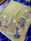 Kitchsy Mid Century Linen Tablecloth Breakfast Lunch Dinner 4 Languages