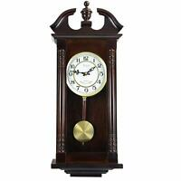 "Wooden Chiming Wall Clock Ornate Cherry Oak Traditional Carved 27.5"" 11.8"" 4.8"""
