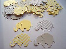 50 Yellow Grey Gray Chevron Elephant Die Cuts Confetti Scrapbook Baby Shower