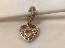 Authentic PANDORA 14K GOLD Bead CHARM ROMANTIC HEART 585 ALE  751001CZ Dangle