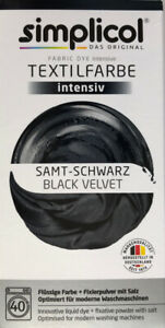 """Simplicol Textilfarbe intensiv all in 1 -Flüssige Rezeptur """"Samt -Schwarz"""" Neu!"""